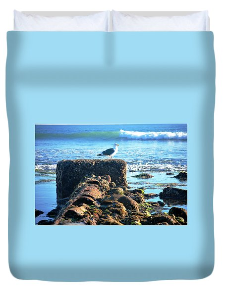 Bird On Perch At Beach Duvet Cover