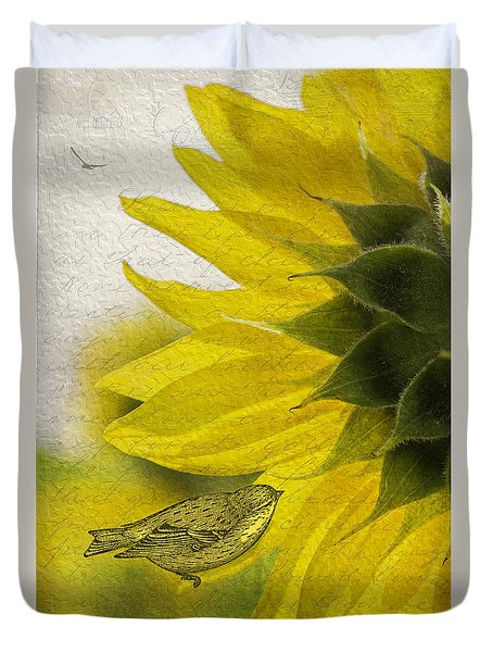 Duvet Cover featuring the photograph Bird On Sunflower by Betty Denise