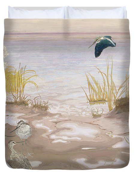 Bird On The Mud Flats Of The Elbe Duvet Cover