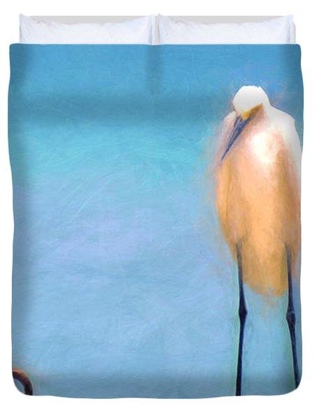Bird On The Rail Duvet Cover