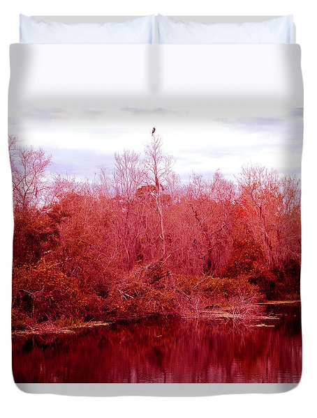 Duvet Cover featuring the photograph Bird Out On A Limb by Madeline Ellis