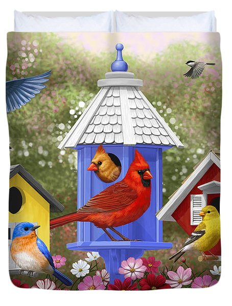 Bird Painting - Primary Colors Duvet Cover