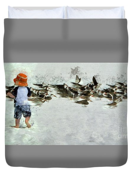 Duvet Cover featuring the photograph Bird Play by Claire Bull