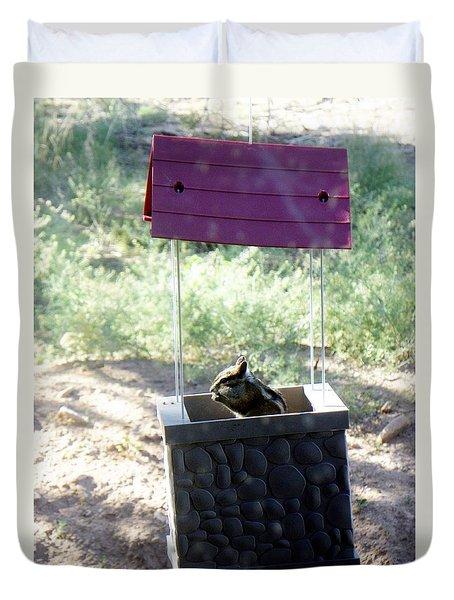 Bird Seed Thief Chipmunk Duvet Cover by Joseph Frank Baraba