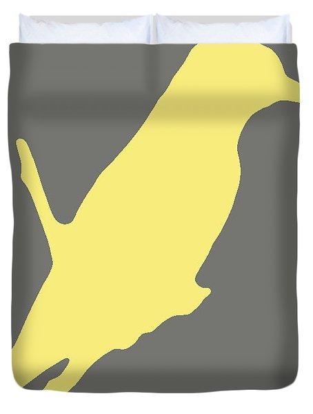 Bird Silhouette Gray Yellow Duvet Cover