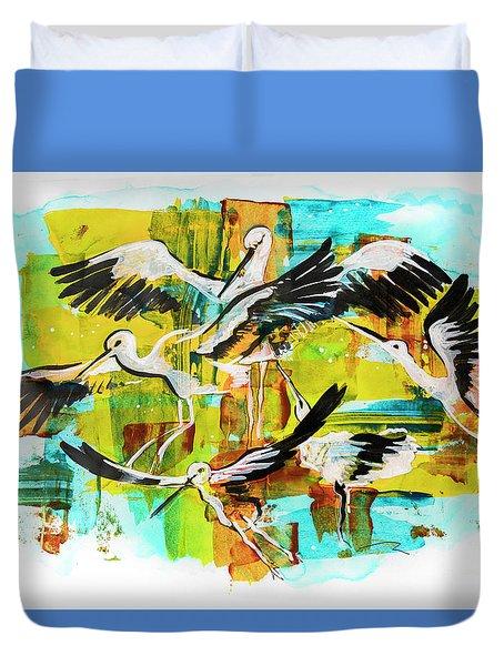 Bird Storks, Illustration  Duvet Cover