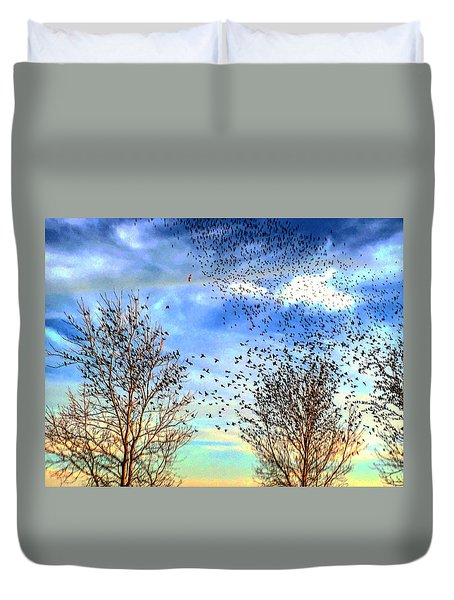 Bird Swarms Versus Hawks On The Prairie Duvet Cover