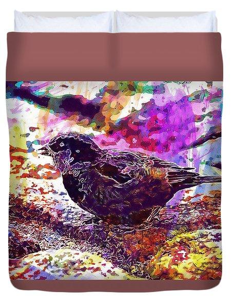 Duvet Cover featuring the digital art Bird The Sparrow Nature Pen  by PixBreak Art