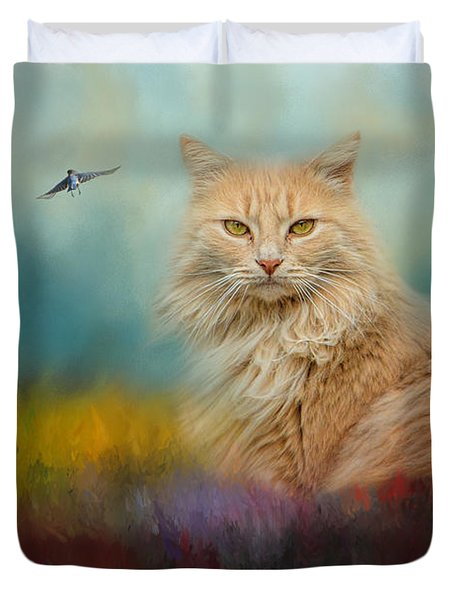 Bird Watching In The Garden Duvet Cover