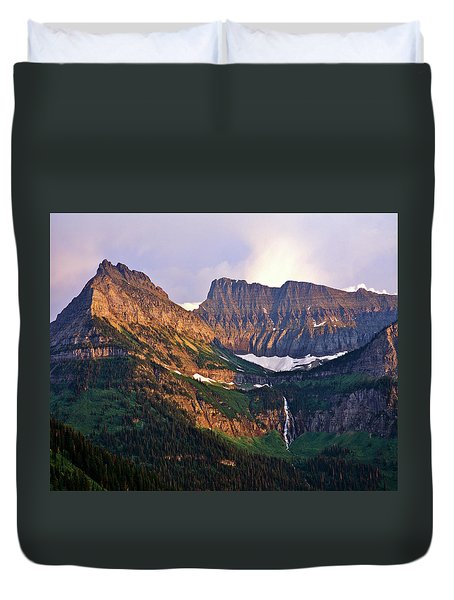 Bird Woman Falls Sunset Duvet Cover