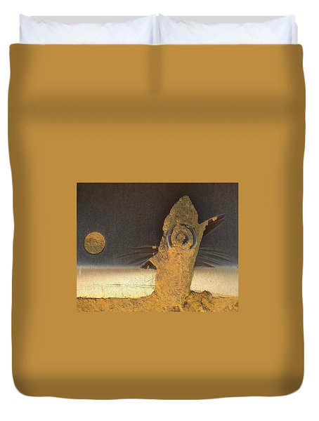 Birdfish And The Moon Duvet Cover