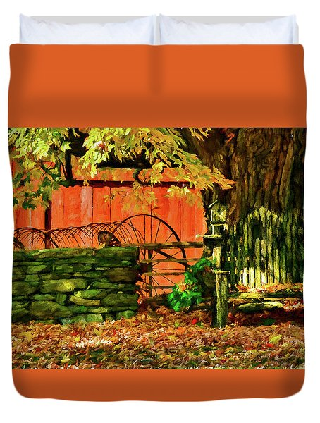 Duvet Cover featuring the photograph Birdhouse Chair In Autumn by Jeff Folger