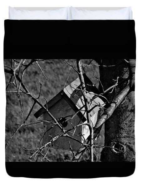 Birdhouse In Tree Duvet Cover