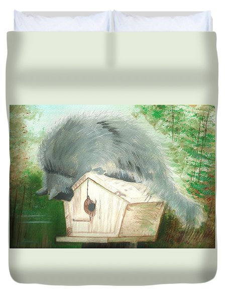 Duvet Cover featuring the painting Birdie In The Hole by Denise Fulmer