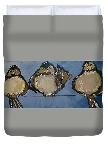 Birdies On A Wire Duvet Cover