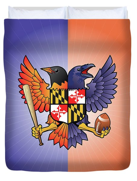 Birdland Baltimore Raven And Oriole Maryland Crest Duvet Cover