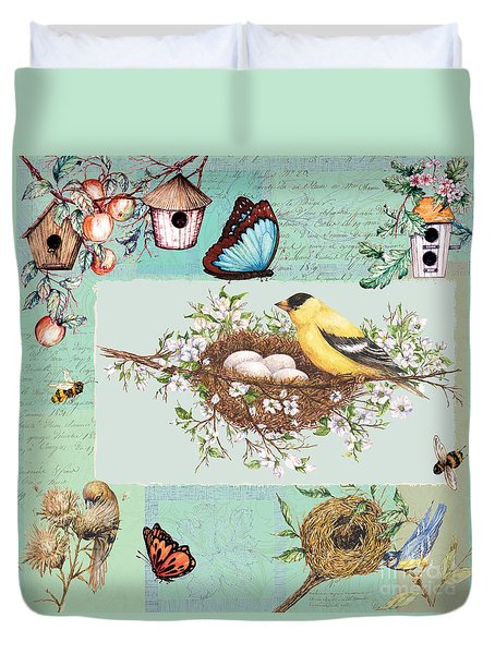Birds And Bees Duvet Cover