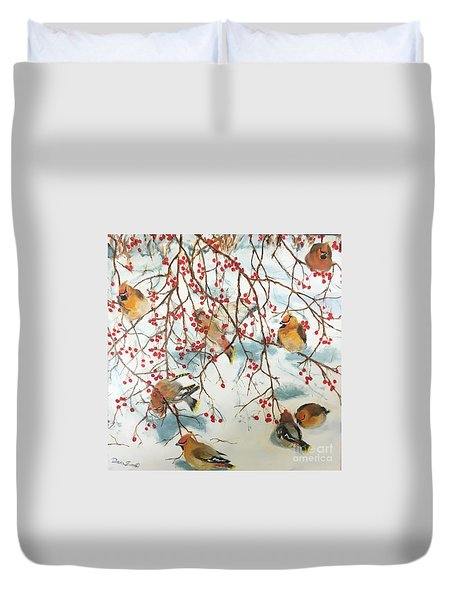 Birds And Berries Duvet Cover