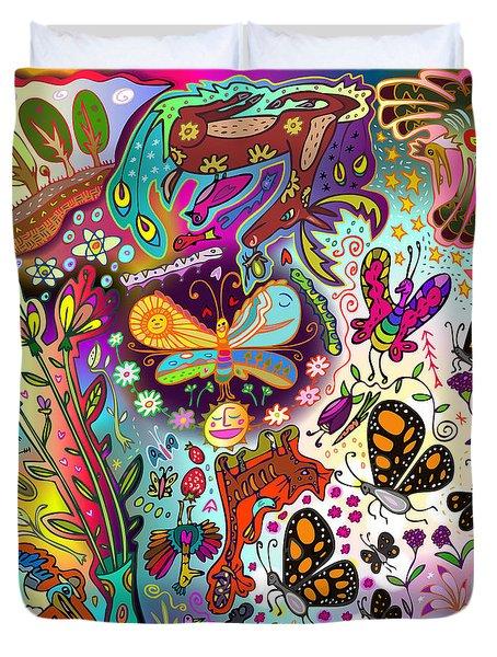 Duvet Cover featuring the digital art Birds And Butterflies by Marti McGinnis