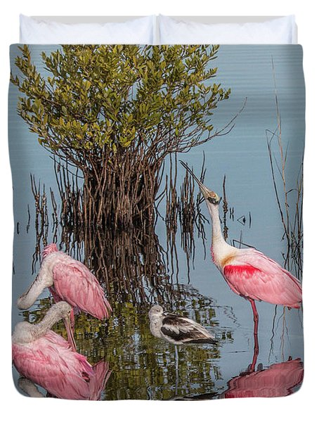 Birds And Mangrove Bush Duvet Cover