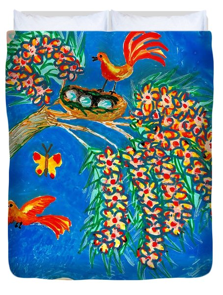 Birds And Nest In Flowering Tree Duvet Cover by Sushila Burgess