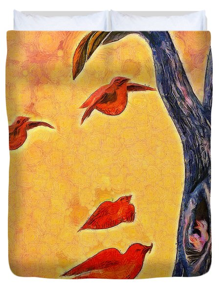 Birds And Tree - Pa Duvet Cover