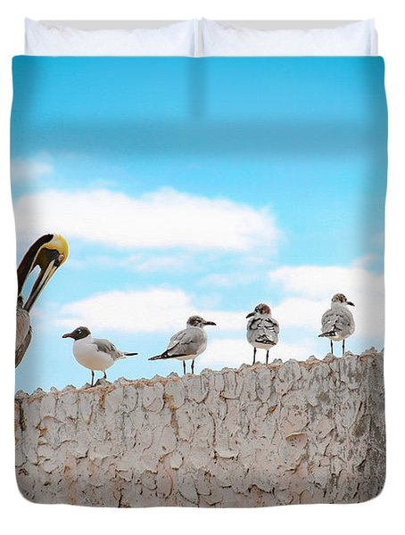 Birds Catching Up On News Duvet Cover
