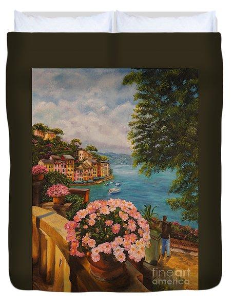 Bird's Eye View Of Portofino Duvet Cover by Charlotte Blanchard