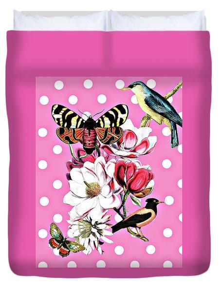 Birds, Flowers Butterflies And Polka Dots Duvet Cover