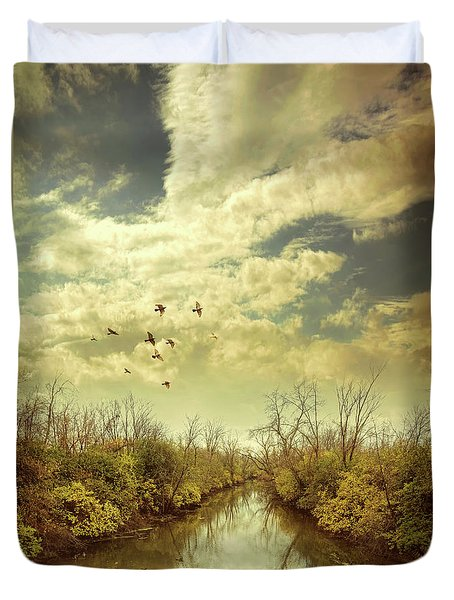 Duvet Cover featuring the photograph Birds Flying Over A River by Jill Battaglia
