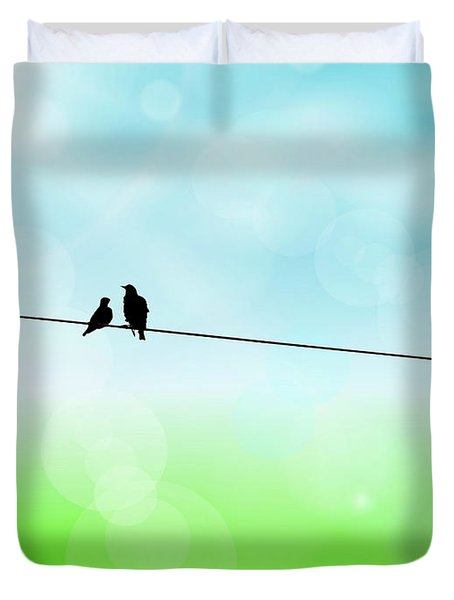 Birds Hanging Around Duvet Cover