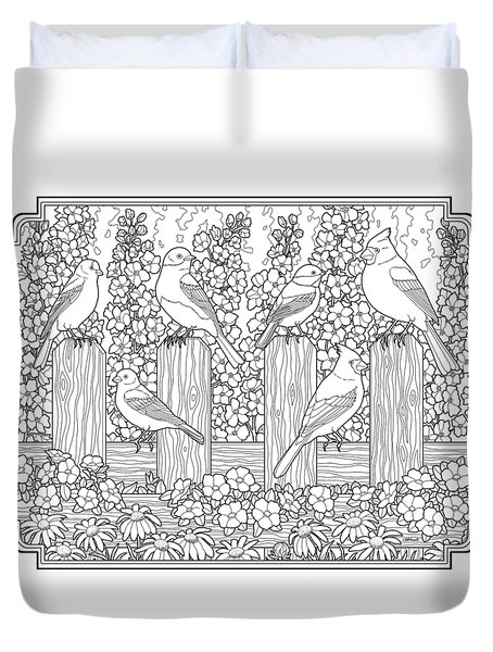 Birds In Flower Garden Coloring Page Duvet Cover