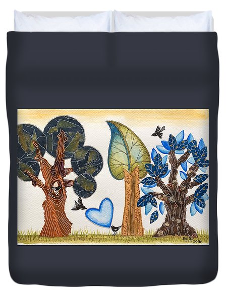 Birds In Love Duvet Cover