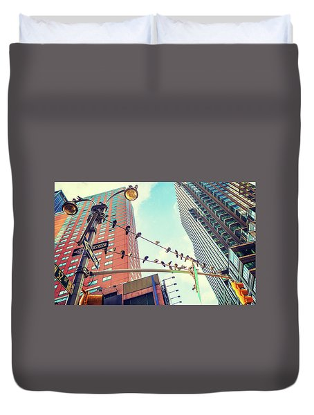 Birds In New York City Duvet Cover