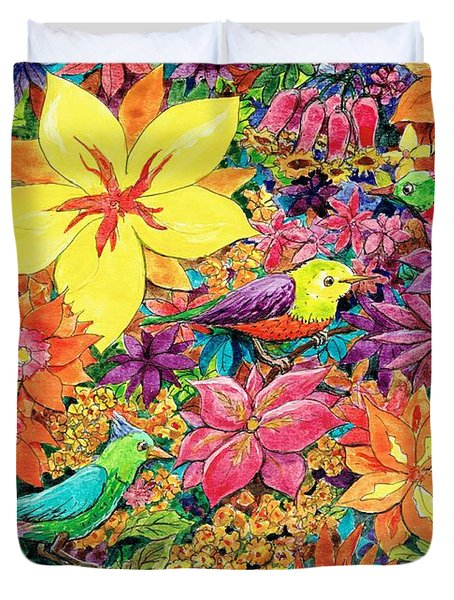 Birds In Paradise Duvet Cover by Charles Cater