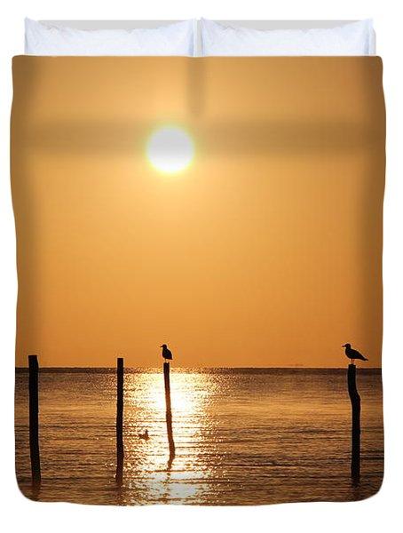 Birds In The Light Of The Sunrise Duvet Cover