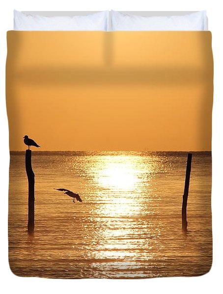 Birds In The Sunrise Duvet Cover