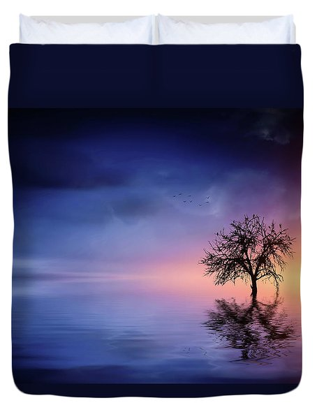 Birds In The Trees, Some Are Fleeing Duvet Cover by Bess Hamiti