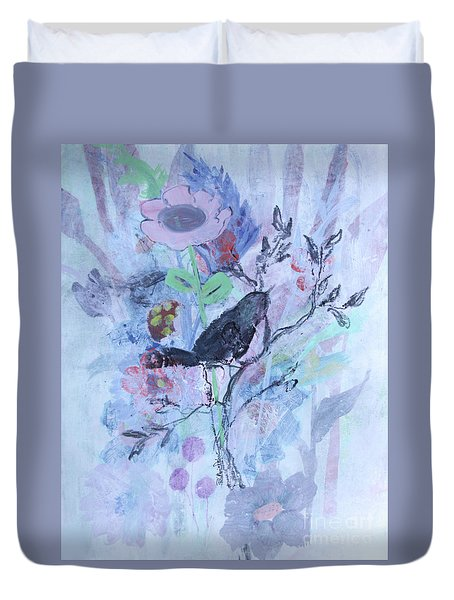 Duvet Cover featuring the painting Birds Just Wanna Have Fun by Robin Maria Pedrero