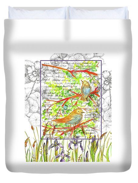 Duvet Cover featuring the painting Bluebirds Nature Collage by Cathie Richardson