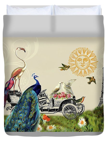 Birds Of A Feather In Paris, France Duvet Cover