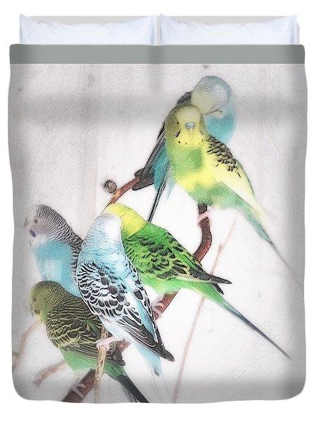 Birds Of A Feather Duvet Cover by Robin Regan