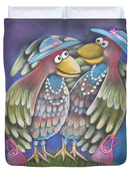Birds Of A Feather Stick Together Duvet Cover