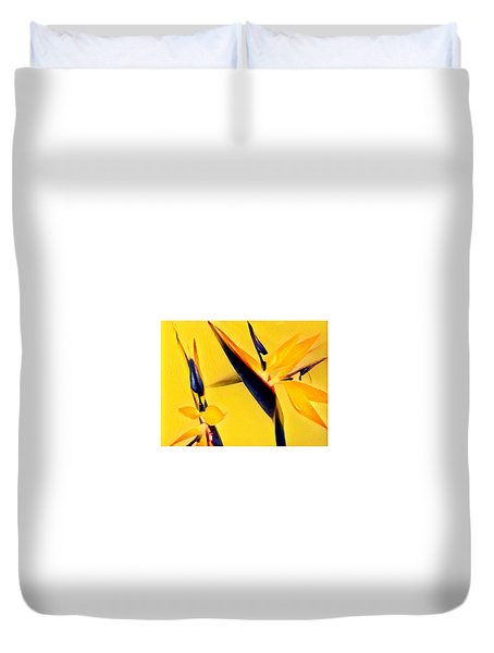 Birds Of Paradise - Two In Gold Duvet Cover