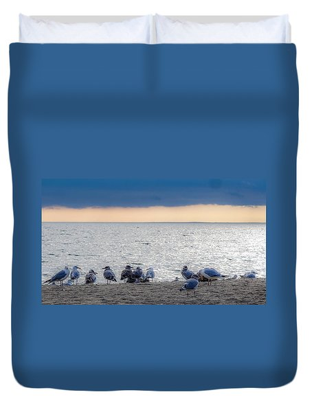Duvet Cover featuring the photograph Birds On A Beach by Kendall McKernon
