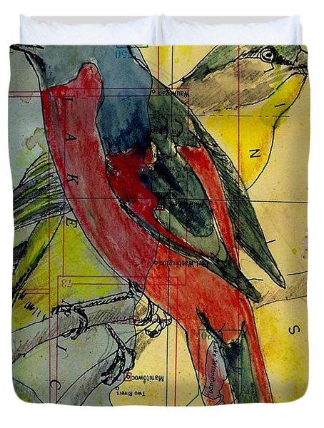 Birds On A Map Duvet Cover
