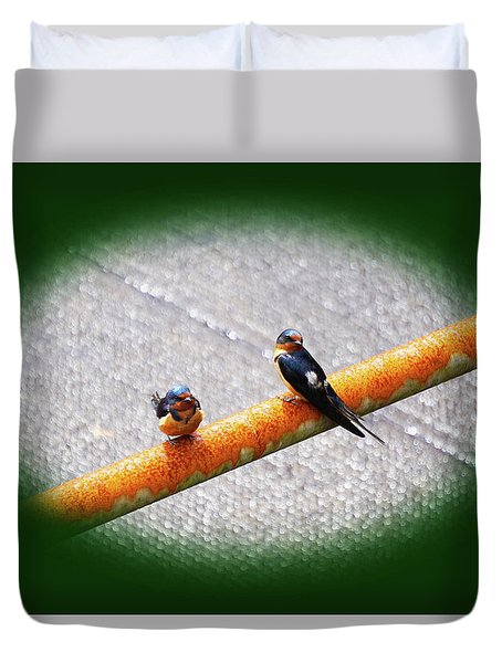 Birds On A Pipe Duvet Cover by Angi Parks