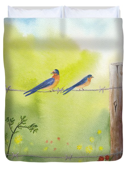 Birds On A Wire Barn Swallows Duvet Cover
