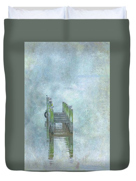 Duvet Cover featuring the digital art Birds On Abandoned Dock by Randy Steele