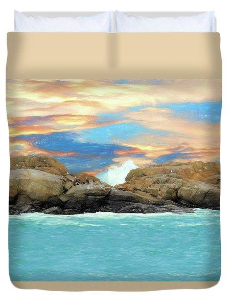 Birds On Ocean Rocks Duvet Cover